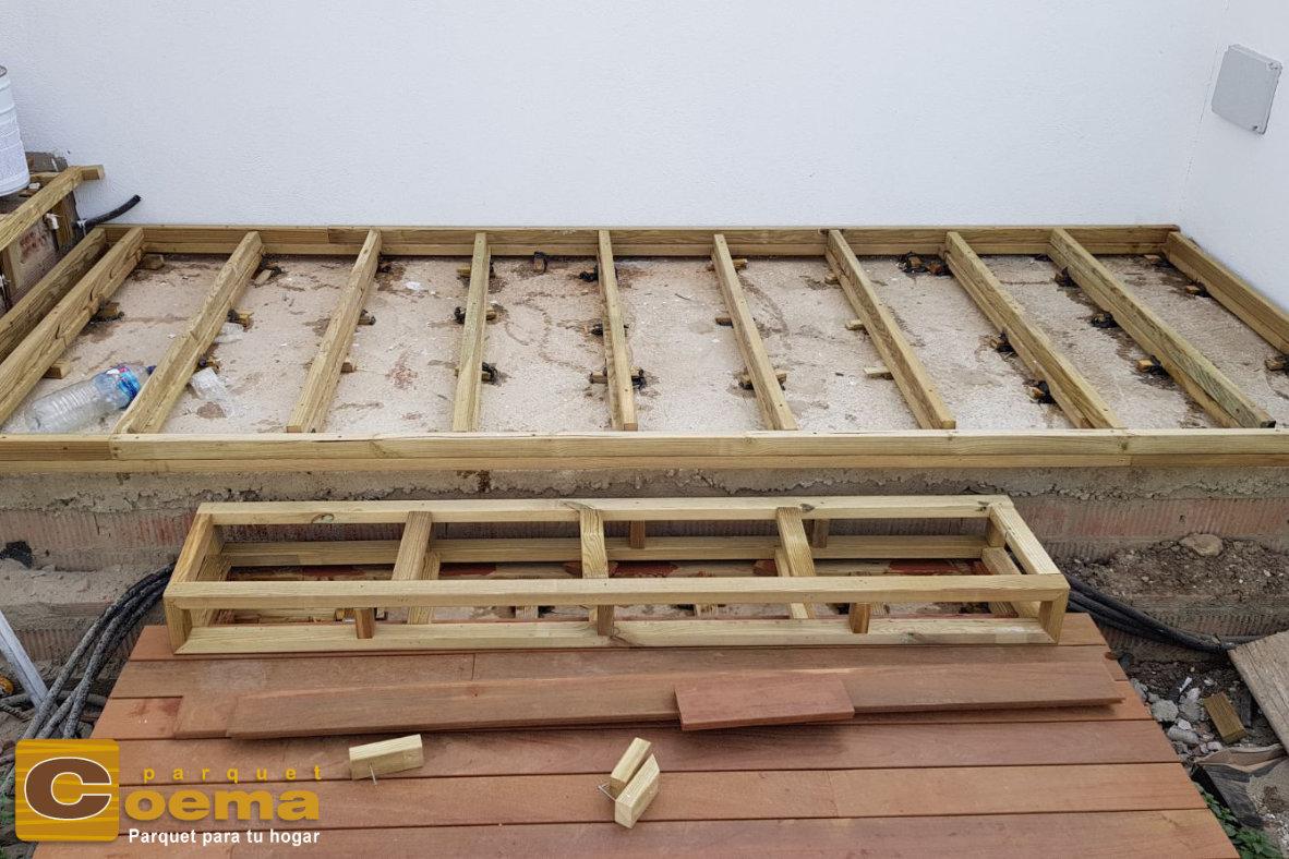 Detalle de rastrelado y nivelado para tarima exterior