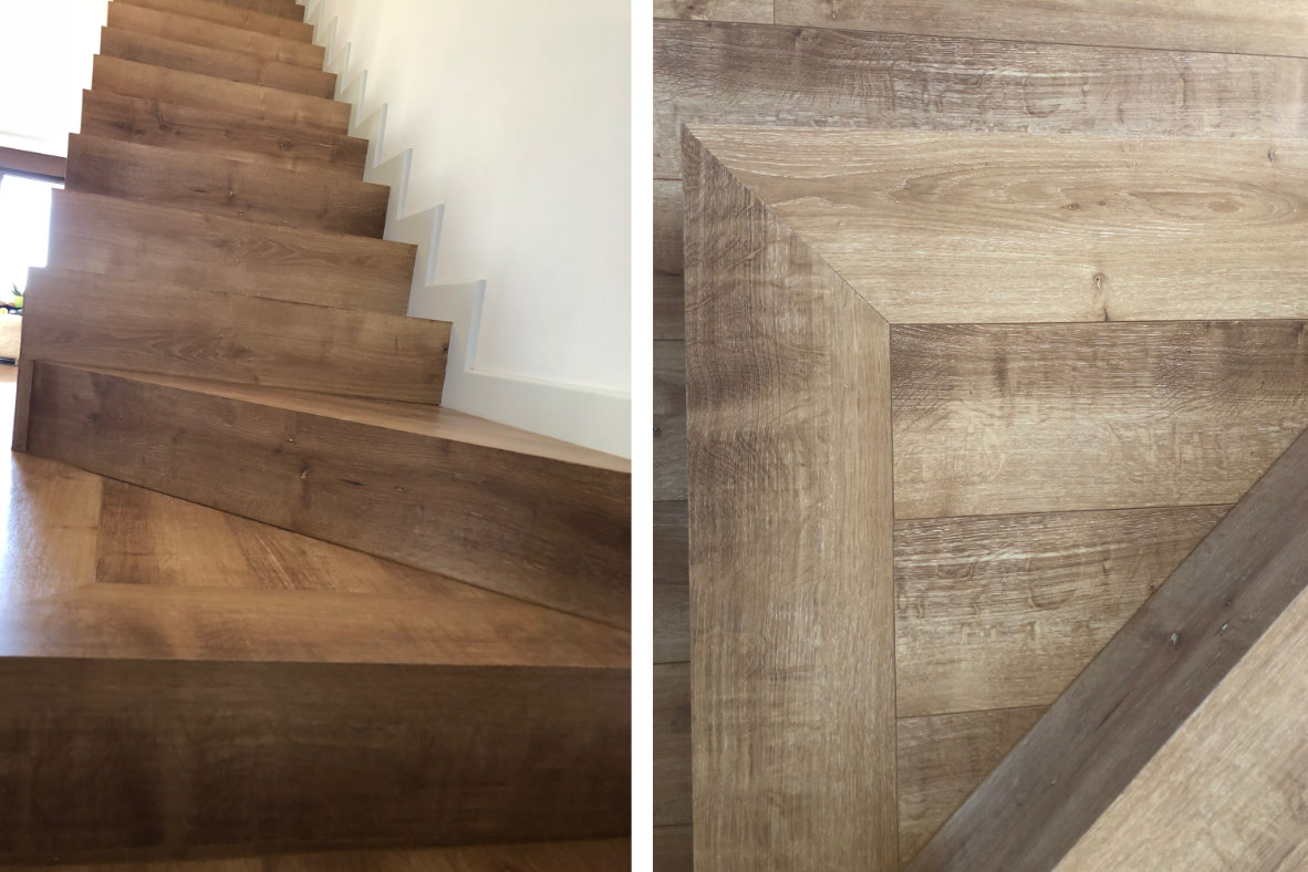 Escaleras forradas de laminado y sin bosel
