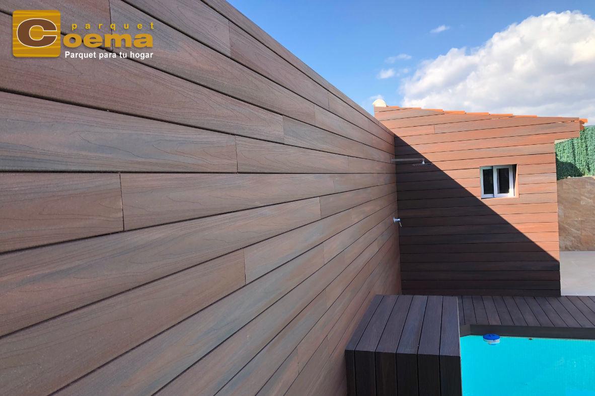 Instalación de tarima exterior tecnológica en pared